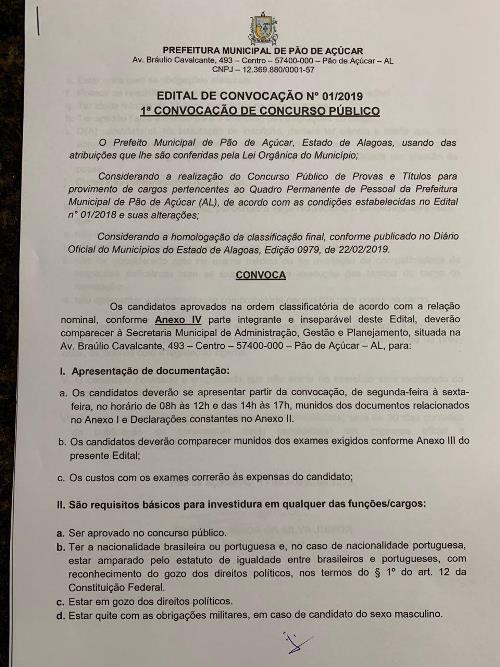 Prefeitura de Pão de Açúcar começa a chamar candidatos aprovados no Concurso ...
