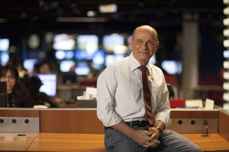 O jornalista Ricardo Boechat nos estúdios da Bandeirantes